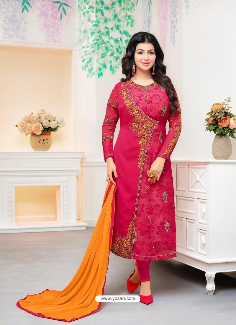 Fuchsia Faux Georgette Embroidered Designer Churidar Suit