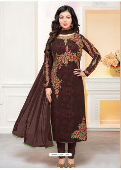 Coffee Brown Faux Georgette Embroidered Designer Churidar Suit