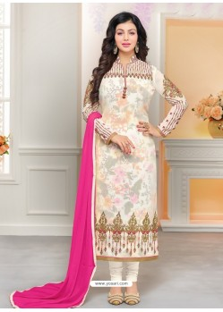 Off White Faux Georgette Embroidered Designer Churidar Suit