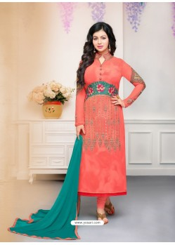 Orange Faux Georgette Embroidered Designer Churidar Suit