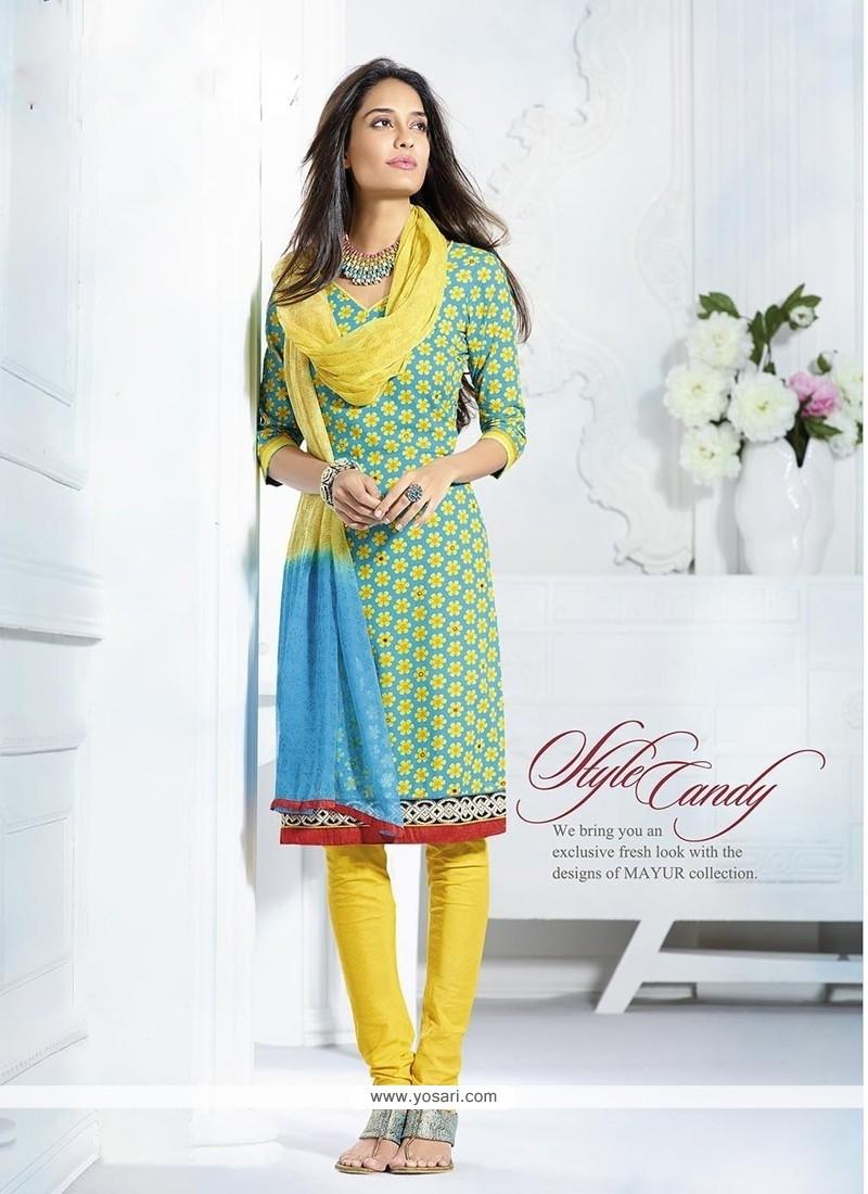 Lisa Haydon Blue And Yellow Cotton Churidar Suit