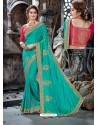 Teal Crepe Silk Embroidered Designer Party Wear Saree