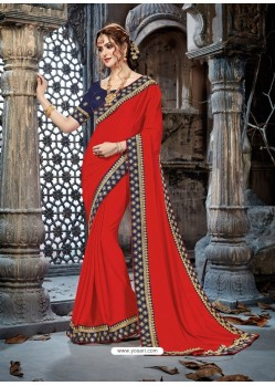 Red Crepe Chiffon Embroidered Designer Party Wear Saree