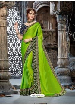 Green Rangoli Chiffon Embroidered Designer Party Wear Saree
