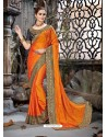 Fabulous Orange Rangoli Chiffon Embroidered Designer Party Wear Saree