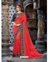 Impressive Red Crepe Chiffon Embroidered Designer Party Wear Saree