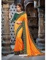 Yellow Crepe Chiffon Embroidered Designer Party Wear Saree