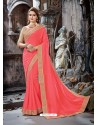 Marvelous Peach Crepe Chiffon Embroidered Designer Party Wear Saree