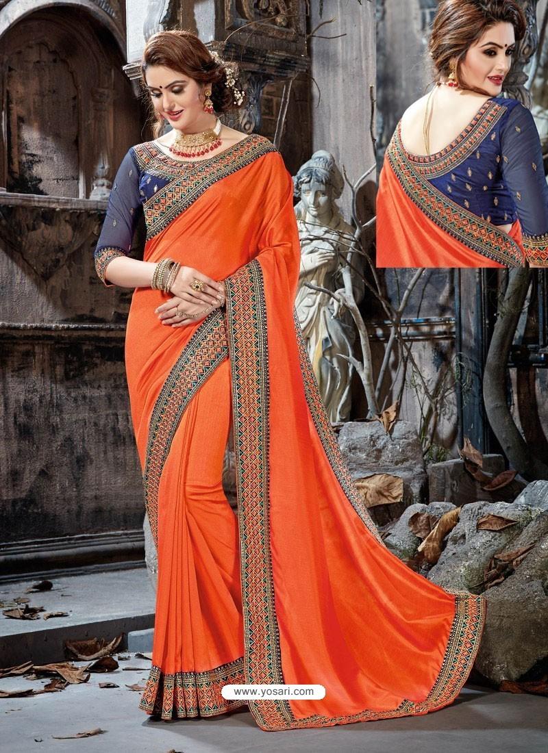 Orange Rangoli Chiffon Embroidered Designer Party Wear Saree