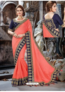 Awesome Peach Crepe Chiffon Embroidered Designer Party Wear Saree