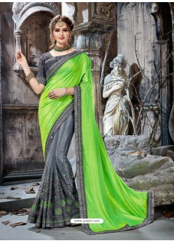 Parrot Green And Grey Embroidered Crepe And Net Designer Party Wear Saree