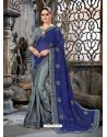 Navy Blue And Green Embroidered Chiffon And Net Designer Party Wear Saree