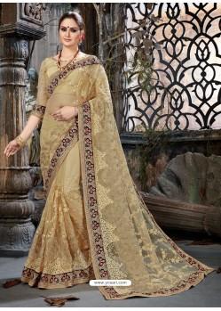Beige Net Embroidered Designer Party Wear Saree