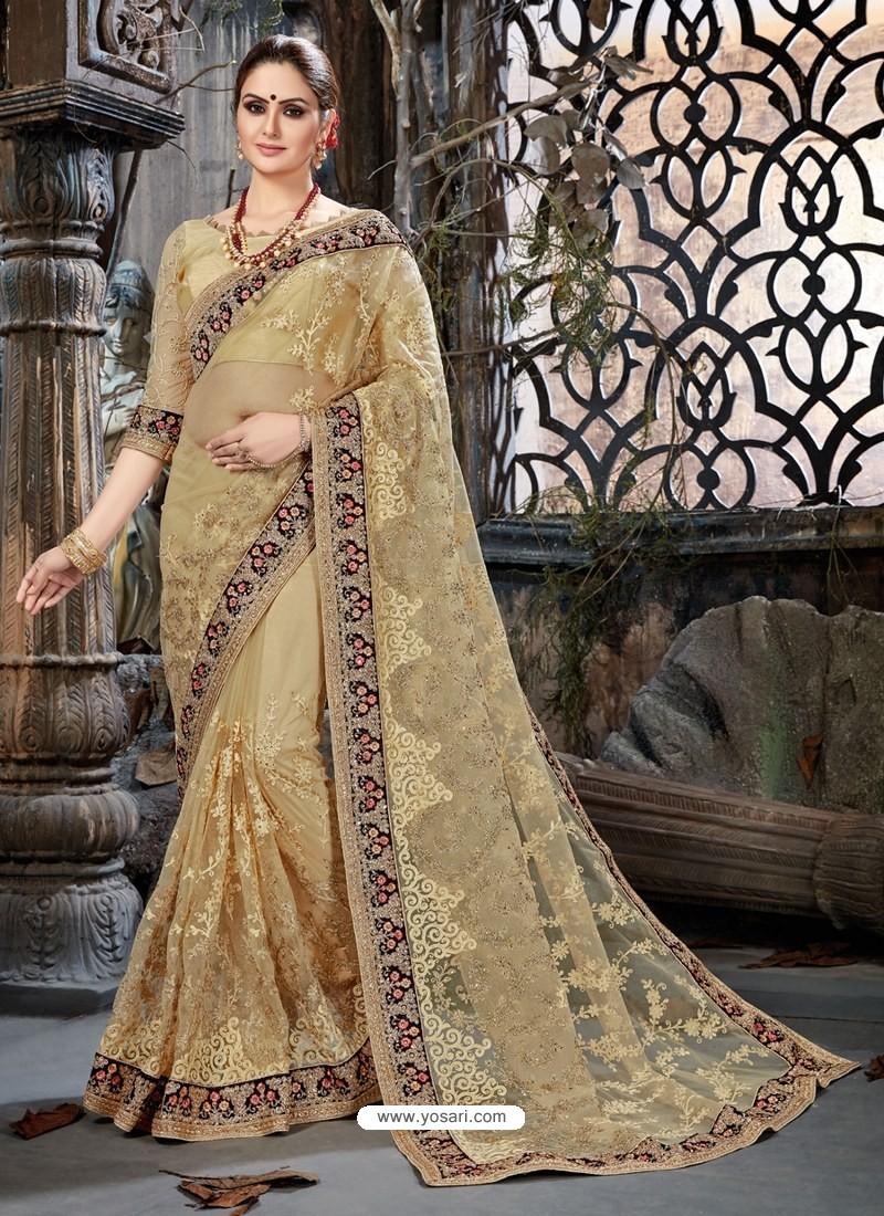 23db8bebf9 Buy Beige Net Embroidered Designer Party Wear Saree | Party Wear Sarees
