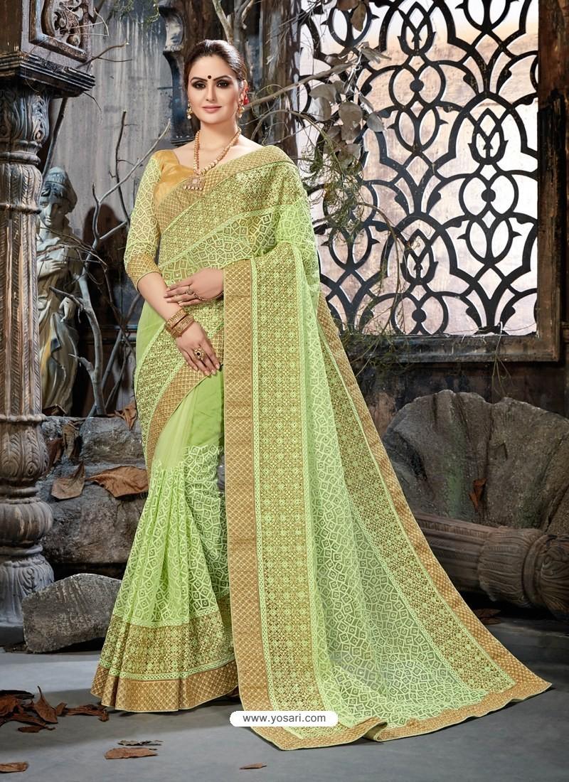 Sea Green Net Embroidered Designer Party Wear Saree