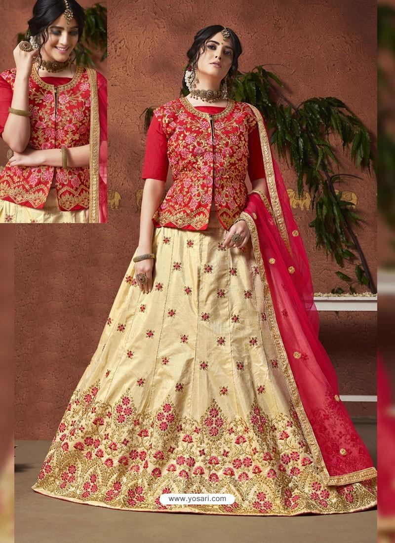 Cream And Red Heavy Zari Embroidered Designer Silk Lehenga Choli