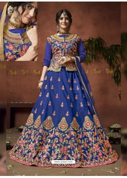 Royal Blue Heavy Zari Embroidered Designer Silk Lehenga Choli