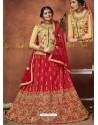 Beige And Red Heavy Zari Embroidered Designer Silk Lehenga Choli