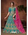 Teal Blue Heavy Zari Embroidered Designer Silk Lehenga Choli