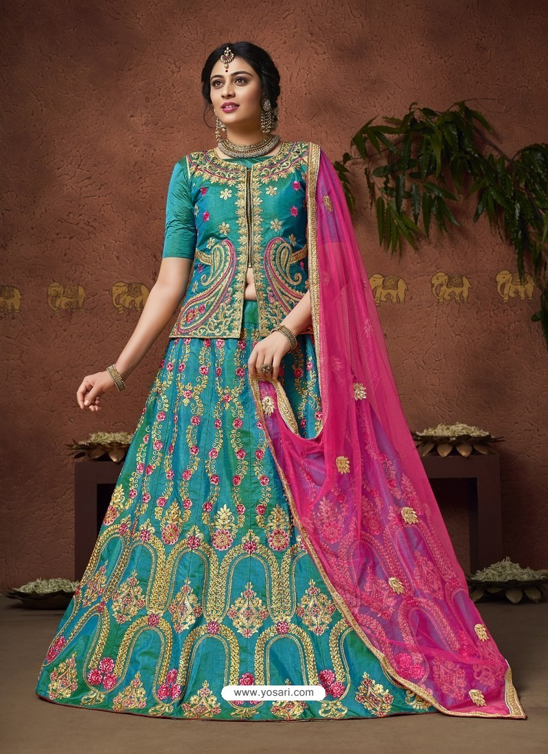 d8421280ed Buy Teal Blue Heavy Zari Embroidered Designer Silk Lehenga Choli ...