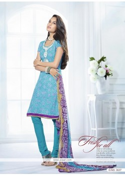 Lisa Haydon Sky Blue Cotton Churidar Salwar Kameez