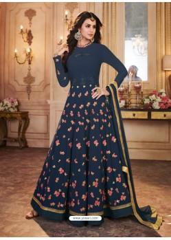 Peacock Blue Georgette Embroidered Designer Anarkali Suit