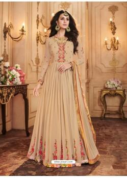 Beige Georgette Embroidered Designer Anarkali Suit