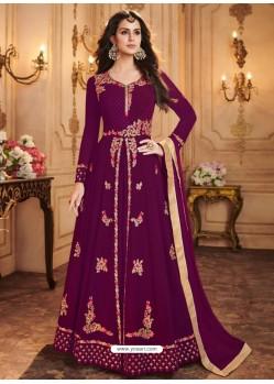 Purple Georgette Embroidered Designer Anarkali Suit