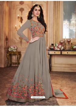 Grey Georgette Embroidered Designer Anarkali Suit