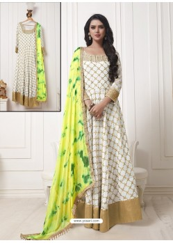 Off White And Beige Georgette Thread Worked Designer Gown