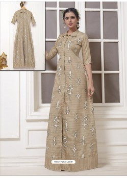 Beige Georgette Thread Worked Designer Gown