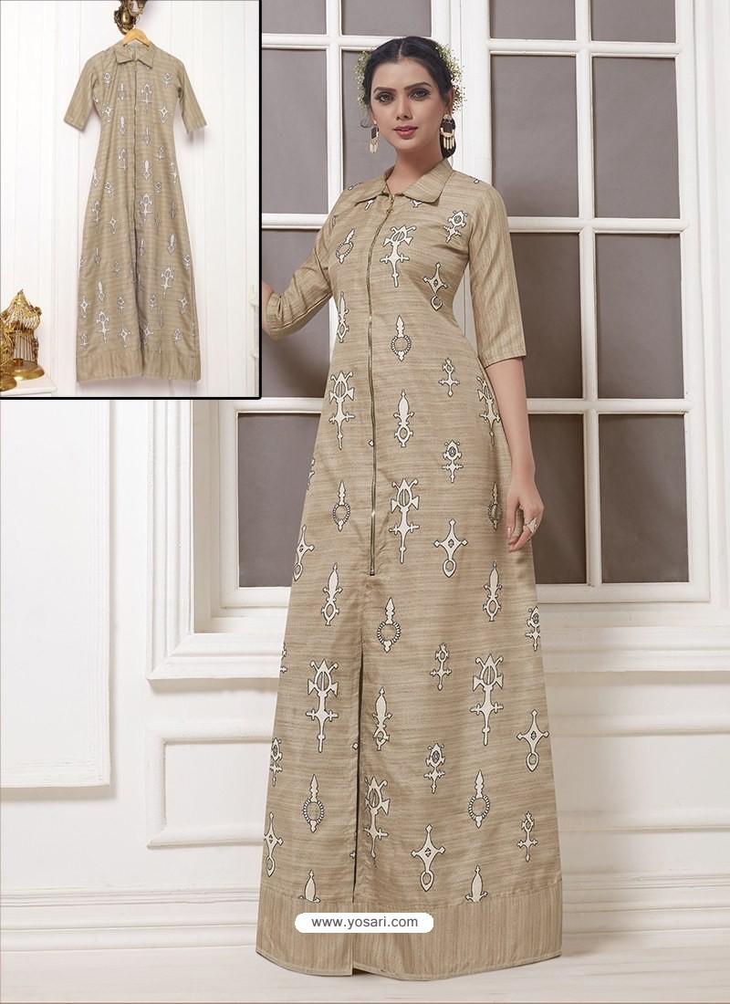 Beige Georgette Thread Worked Designer Gown