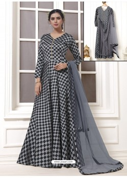 Grey And Black Georgette Thread Worked Designer Gown