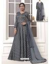 Grey And Black Georgette Thread Worked Designer Gown