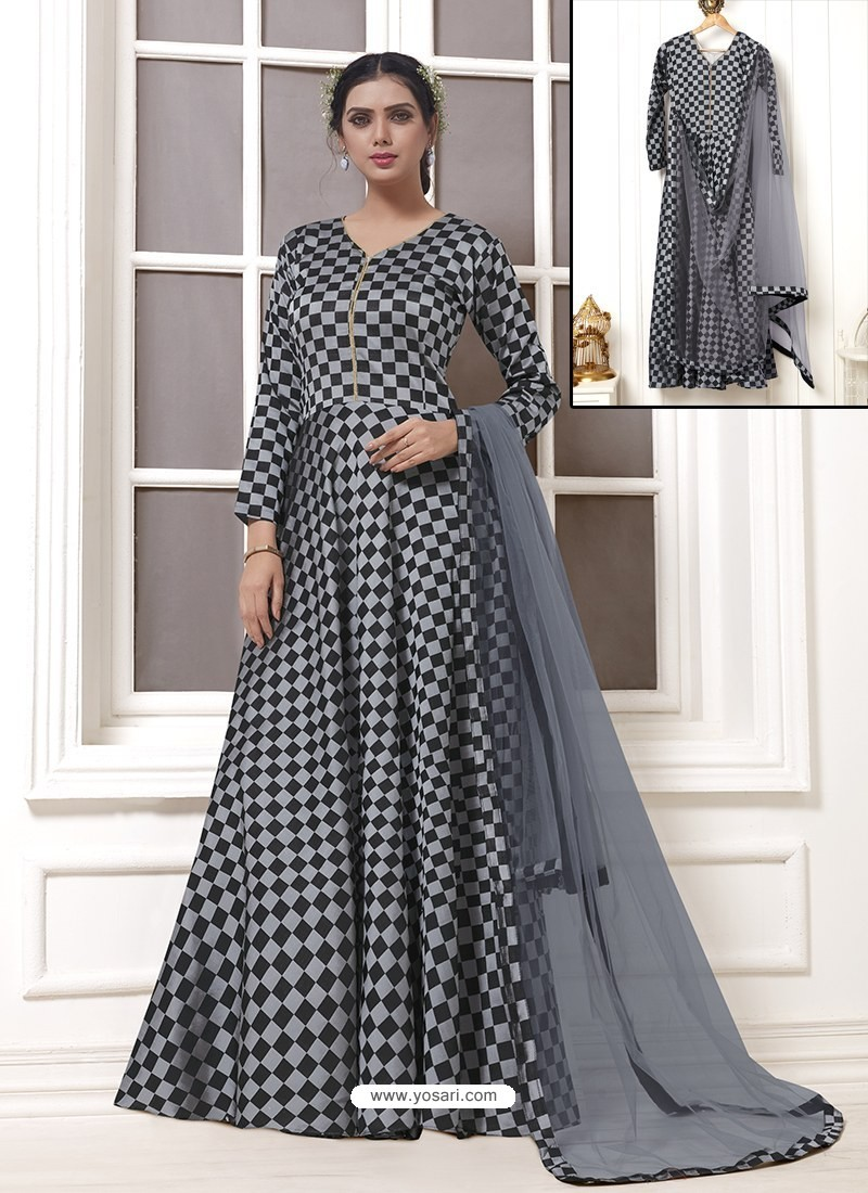 Buy Grey And Black Georgette Thread Worked Designer Gown | Gowns