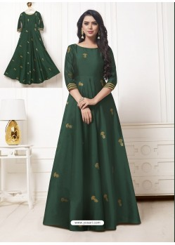 Dark Green Georgette Thread Worked Designer Gown