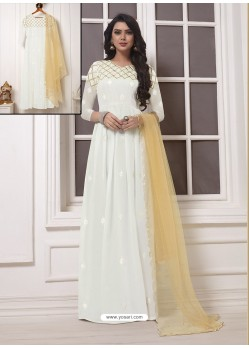White Georgette Thread Worked Designer Gown