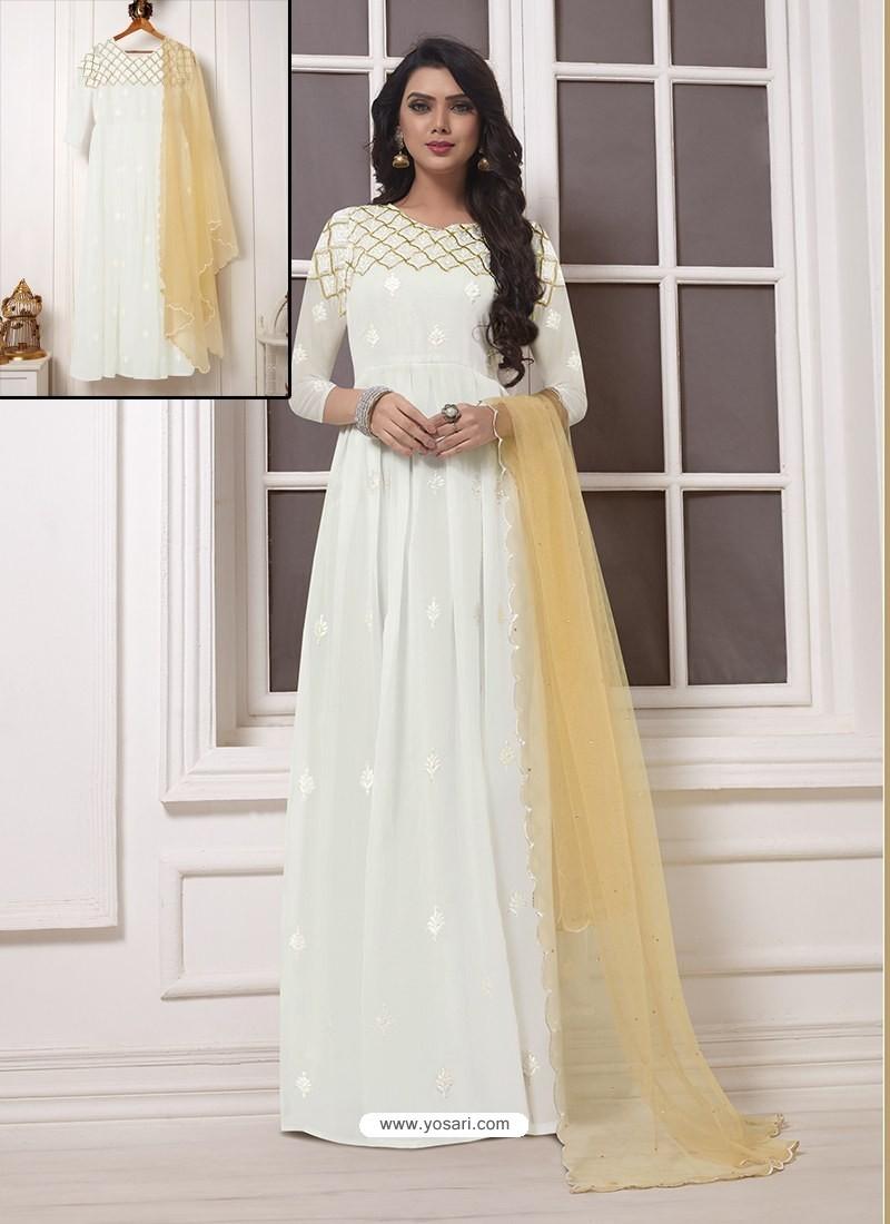 White Georgette Thread Worked Designer Gown