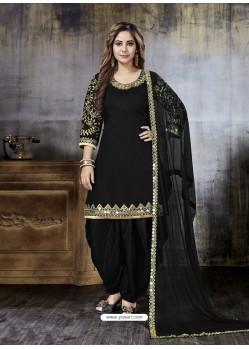 Black Embroidered Art Silk Designer Salwar Suit