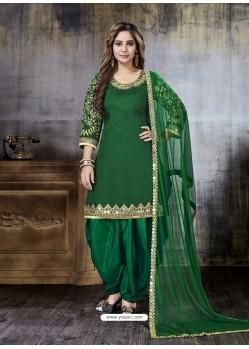 Dark Green Embroidered Art Silk Designer Salwar Suit