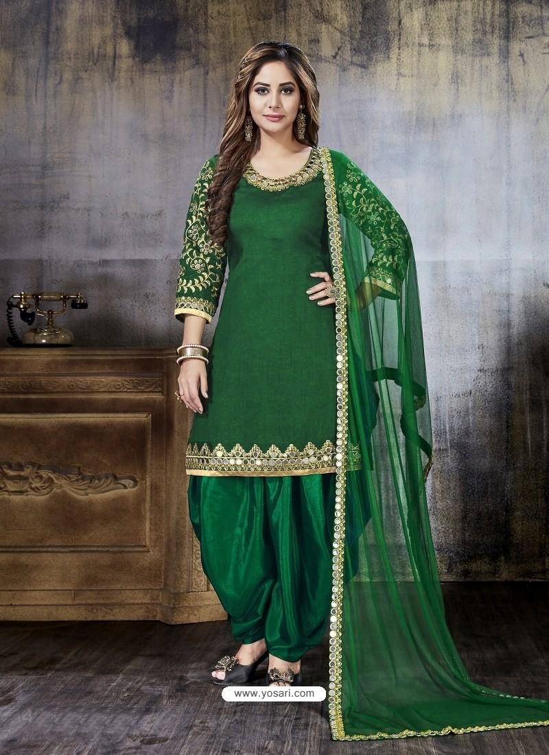 Buy Dark Green Embroidered Art Silk Designer Salwar Suit Punjabi
