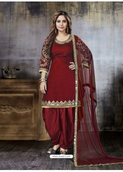 Maroon Embroidered Art Silk Designer Salwar Suit