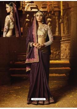 Deep Scarlet Silk Embroidered Border Work Designer Wedding Saree