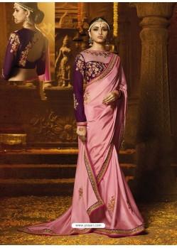 Pink Japan Crape Embroidered Border Work Designer Wedding Saree