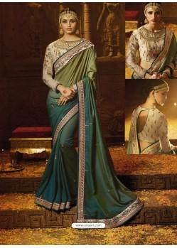 Olive Green And Teal Barfi Silk Embroidered Border Work Designer Wedding Saree