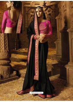 Black Silk Embroidered Border Work Designer Wedding Saree