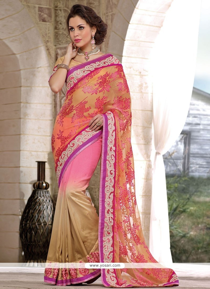 Decent Beige And Pink Shaded Brasso Georgette Saree