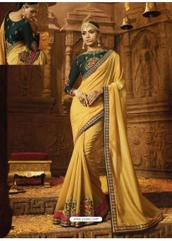Yellow Silk Embroidered Border Work Designer Wedding Saree