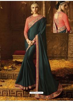 Teal Chinon Silk Embroidered Border Work Designer Wedding Saree