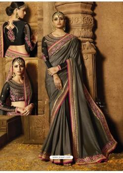 Dull Grey Silk Embroidered Border Work Designer Wedding Saree